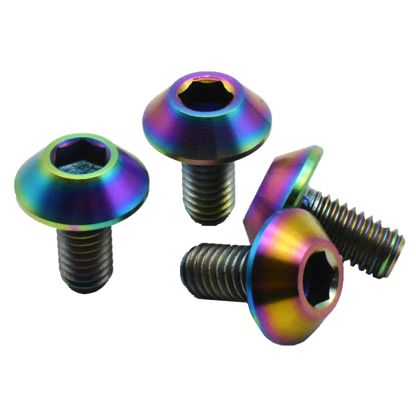 Titanium Bolt M6 M6x12-20mm Ti Bolt DIY Ti Color Gold Color Multicolor Mushroom Head Hexagon Socket Ti Screws Ti Fastener klotz ti 0450psp
