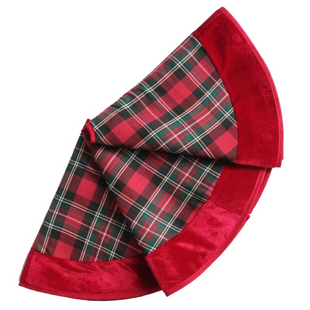 free shipping 3650 red plaid christmas tree skirt velvet border