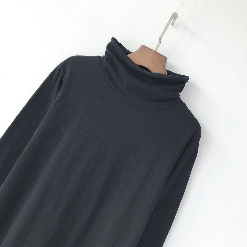 2 En Solide Col shirt Longueur Marque 2017 Couleur Femmes 1 Longues Flammé Coton Lâche Automne Mince T Manches Nfive Qualité shirts Roulé T À Chemise 1aSpff