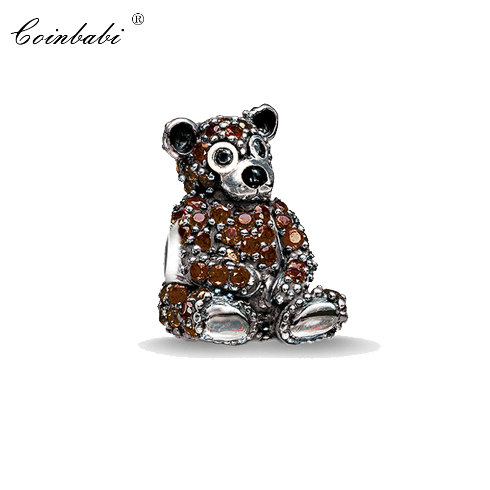 Bead Charm Teddy Bear, Thomas Silver TS Crimp Jewelry Findings Component For Women Cute Gift Fit Karma Bracelet Necklace