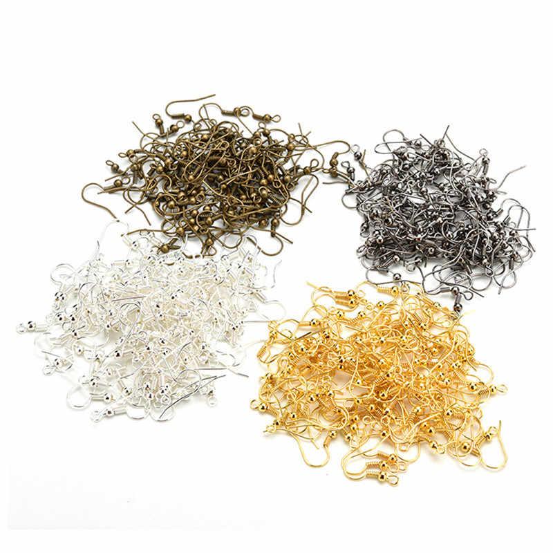 50 unidades/pacote ouro prata bronze níquel ganchos bobina orelha fio brincos descobertas para fazer jóias artesanato diy