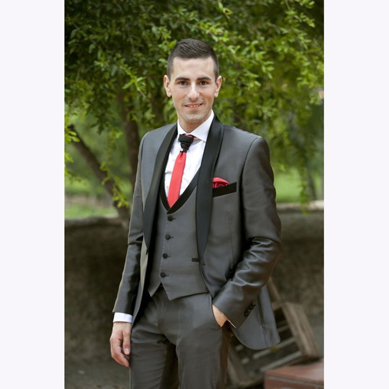 2018 Tailored Smoking Grey Suit Men Slim Fit 3 Piece Groom Wedding mens Suits Custom Blazer Prom Tuxedo Terno Jacket+Pant+Vest