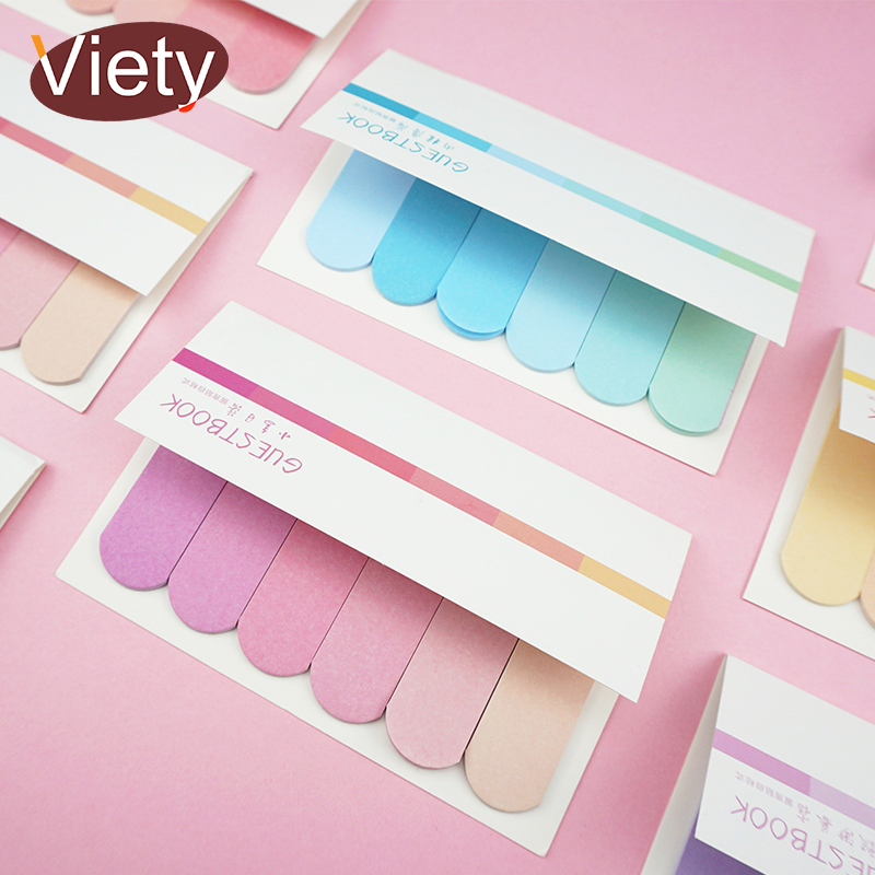 New Gradient Colors Student Index Memo Pad Planner Sticky Notes Paper Sticker Notepad Kawaii Stationery Pepalaria Office
