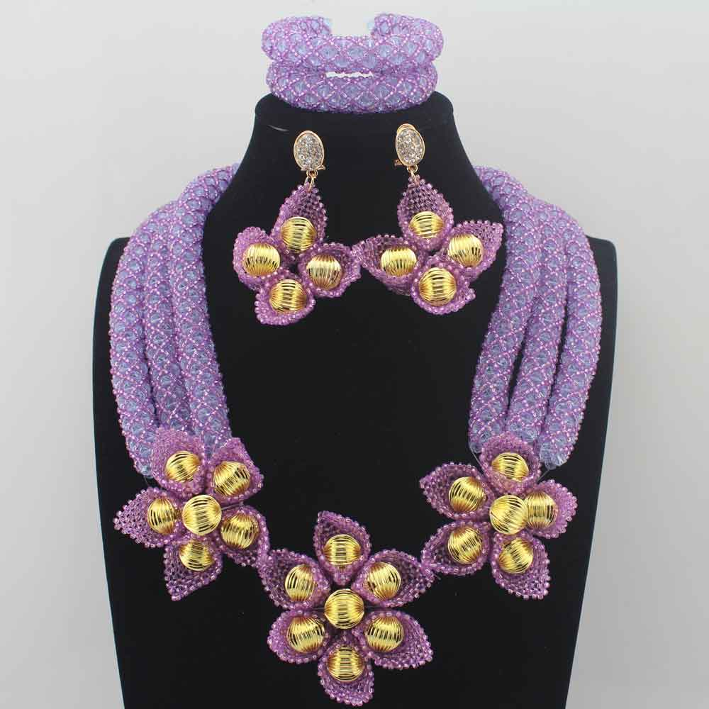 все цены на Fashion Lavender earrings Flower African Jewelry Sets Nigerian Wedding Beads Bridal Necklaces Earrings Free Ship HD8596