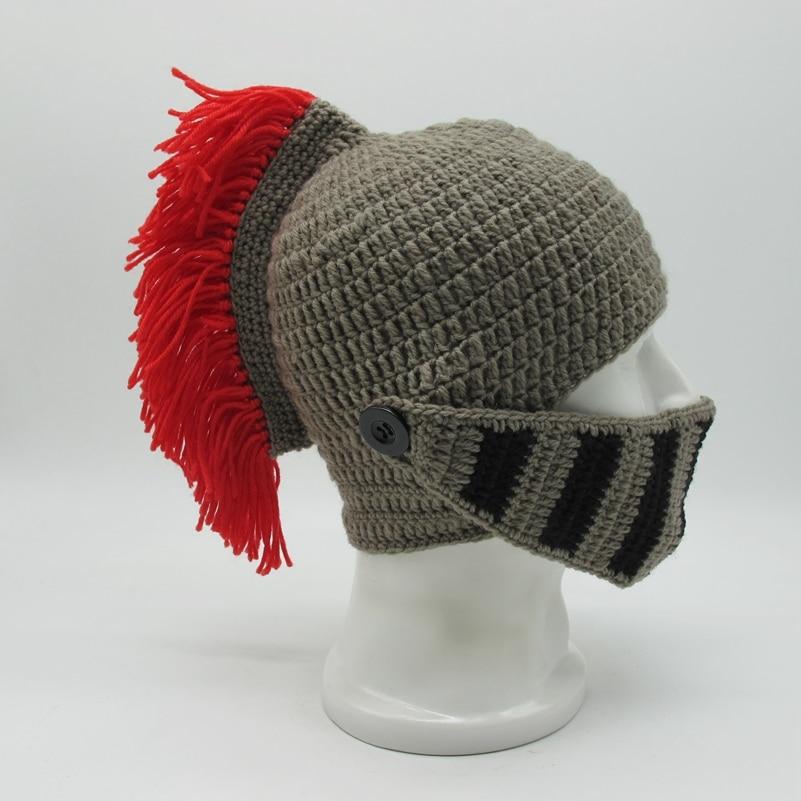 2018 Winter Handmade Funny Hats Cool Red Tassel Roman Knight Helmet Mask   Beanies   Cosplay Caps Men's Women's Gag Party Gifts