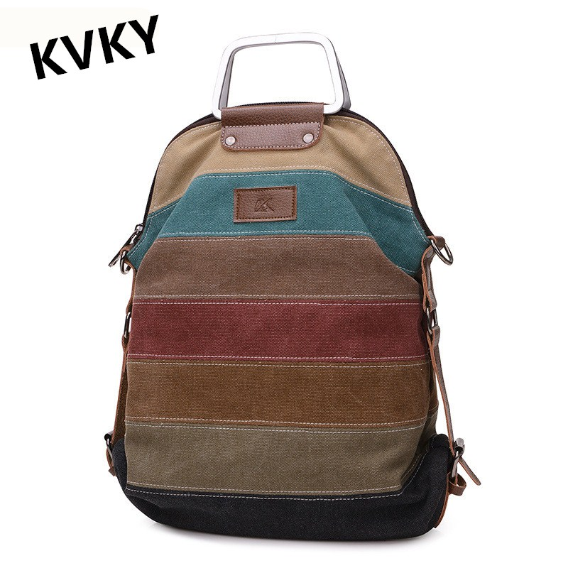 2017 New Women Backpack Vintage Canvas Bag Stripe Shoulder Bag Female Casual Backpacks School Bags Travel Backpack Mochila CH053 2017 new fashion designer women backpack women travel bags vintage school shoulder bag motorcycle bag mochila feminina