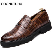 2019 new fashion mens shoes casual leather loafers male Increase height slip on shoe man black and brown for men hot sale