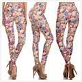 Women's cute Ocean patten bright leggings lady printed fish Shells Pencil leggings girl lovely skinny capris