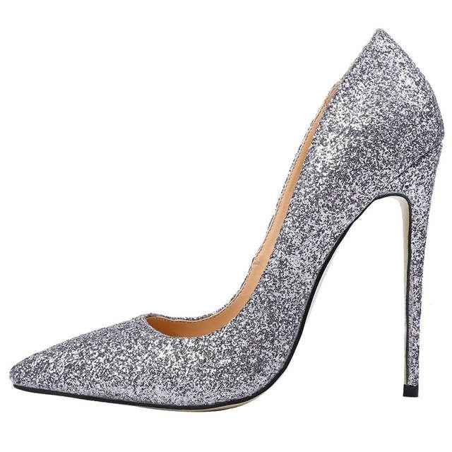 placeholder AIWEIYi Women High Heels Prom Wedding Shoes Ladies Gold Silver  Glitter Rhinestone Bridal Shoes Stiletto High c76014d5c495