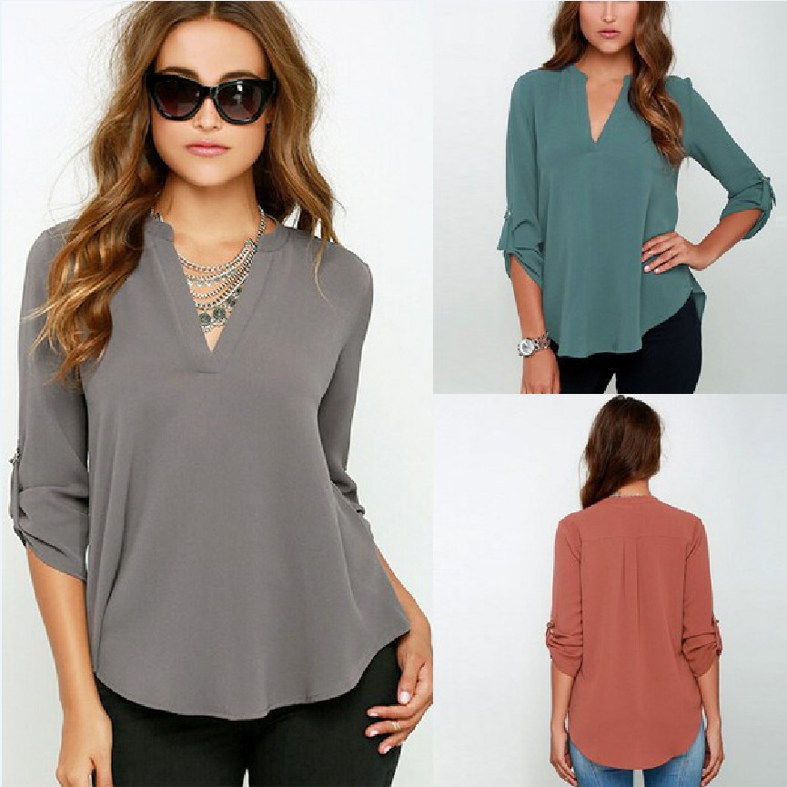 Women Casual Loose Long Sleeve Deep V Neck Solid Color   Blouse     Shirt   Sexy Summer Tops For Women