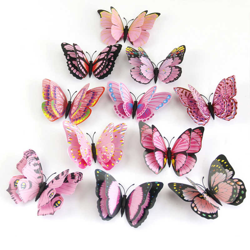 12 unids/set Multicolor doble capa 3D mariposa pared pegatina imán PVC mariposas fiesta niños dormitorio nevera decoración 10 colores