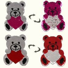 2PC Cute Bear Shape Reversible Color Changing Sequins Sewing Clothes DIY Applique Clothing Jeans Craft