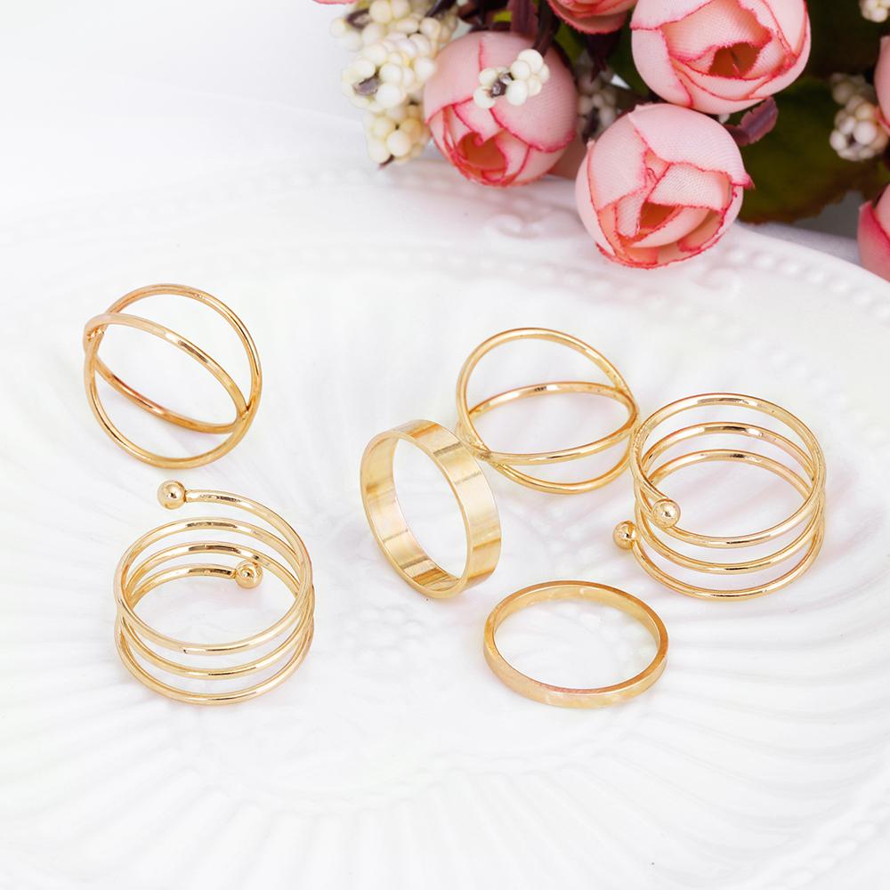 HTB1oG2lRpXXXXbIXpXXq6xXFXXXN Posh 6-Pieces Cuff Finger Ring Gift Set For Women - 2 Colors