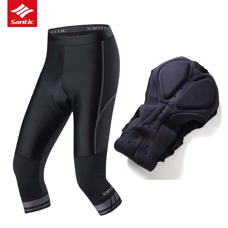цена на Santic Spring Summer Cycling Pants Men Mountain Road Bike 3/4 Short Pants 4D Sponge Padded Bicycle Clothing Pantalon Ciclismo