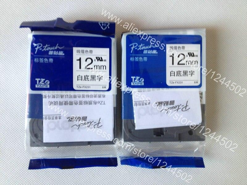 20e59720be5 Бесплатная доставка Новый Клейкие ленты label tze-fx231 черный на белом  фоне для Brother 12 мм 2 шт. в партии