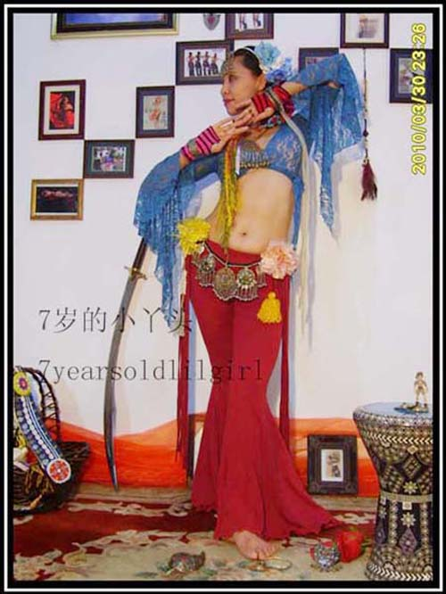 Belly Dance Pants Lycra Cotton Tribal Belly Dance Sharp Corners Flare Pants With Tape AJ13-21