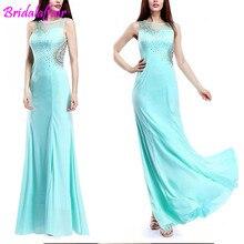 Elegant Chiffon Sky Blue Mermaid Prom Dresses 2019 Sex Scoop Neck Appliques Beads big Size Bestidos De Gala