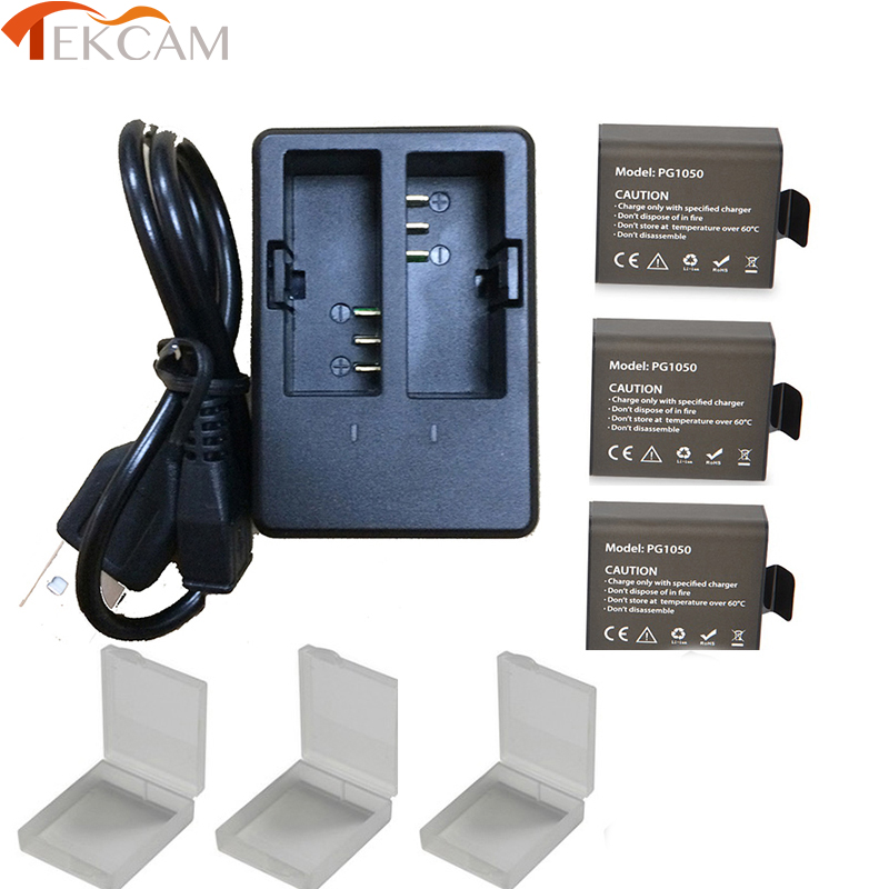 Tekcam 3x 1050mAh for SJCAM SJ5000 battery Dual Battery Charger SJ4000 SJ5000x M10 dbpower ex5000 Soocoo
