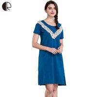 New Women Casual Nightwear 5 Colors Plus Big Size Navy Blue Cotton Nightgown Sleepwear Dress G String Free Shipping AP349