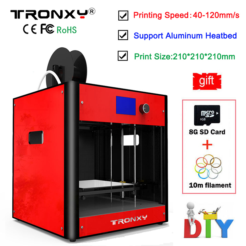 Best Tronxy C5 3D Printer DIY kit Direct Extruder MK3 heatbed 3D Printing Size 210x210x210mm Aluminum Metal Frame High Precision best tronxy p802m auto level 3d printer diy full kits direct extruder mk3 heatbed 3d printing 3dcstar p802 mhs