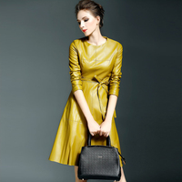 New Spring Europe Fashion Temperament All Match Slim Pure Color Pu Leather Patent Shinning Attractive Women