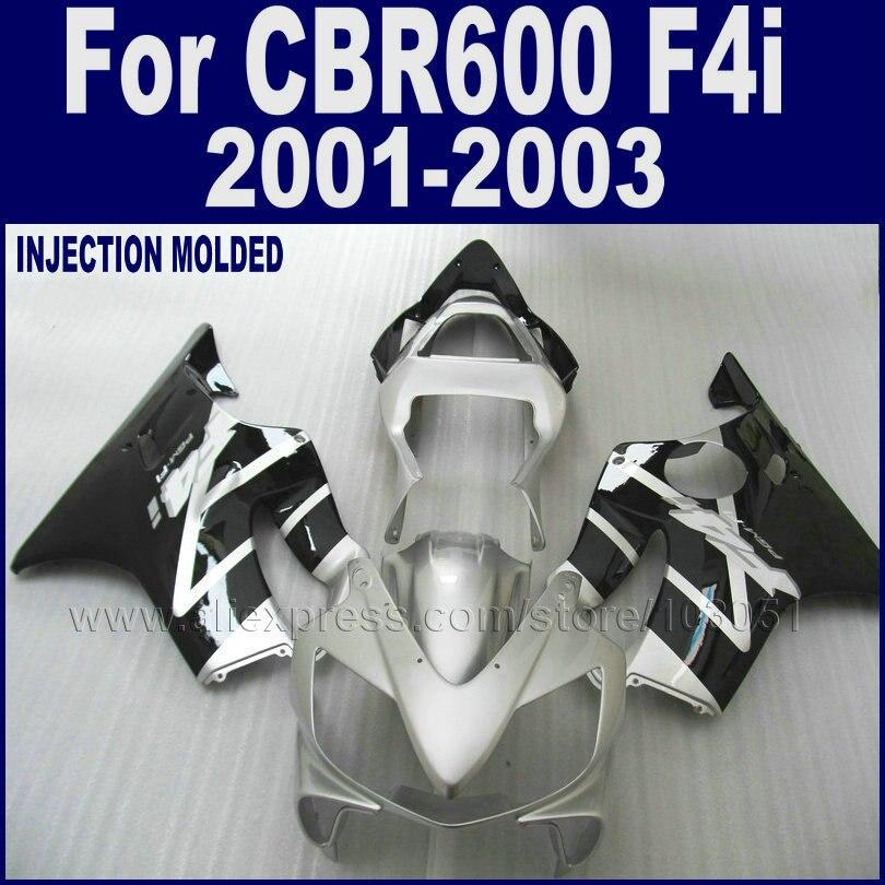 Custom motorcycle fairings set for Honda CBR 600 F4i 01 02 03 cbr600f4i 2001 2002 2003 black silver race fairing bodywork kits