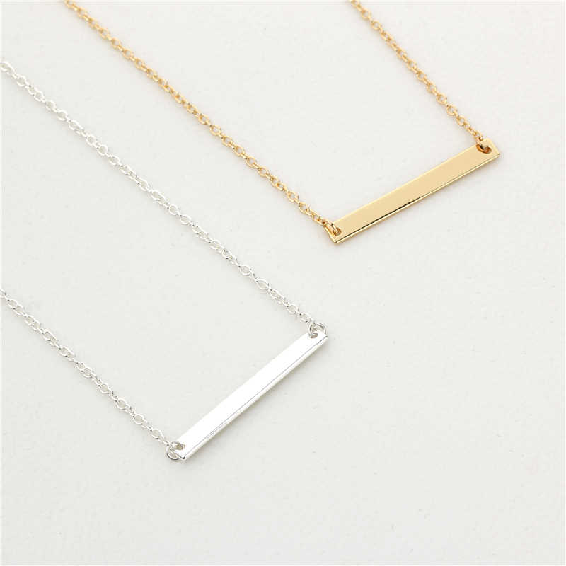 New Classic Simple Bar Necklace Jewelry Gold/Silver Bar Pendant Necklace For Women Easy To Match Everyday Wear Jewelry