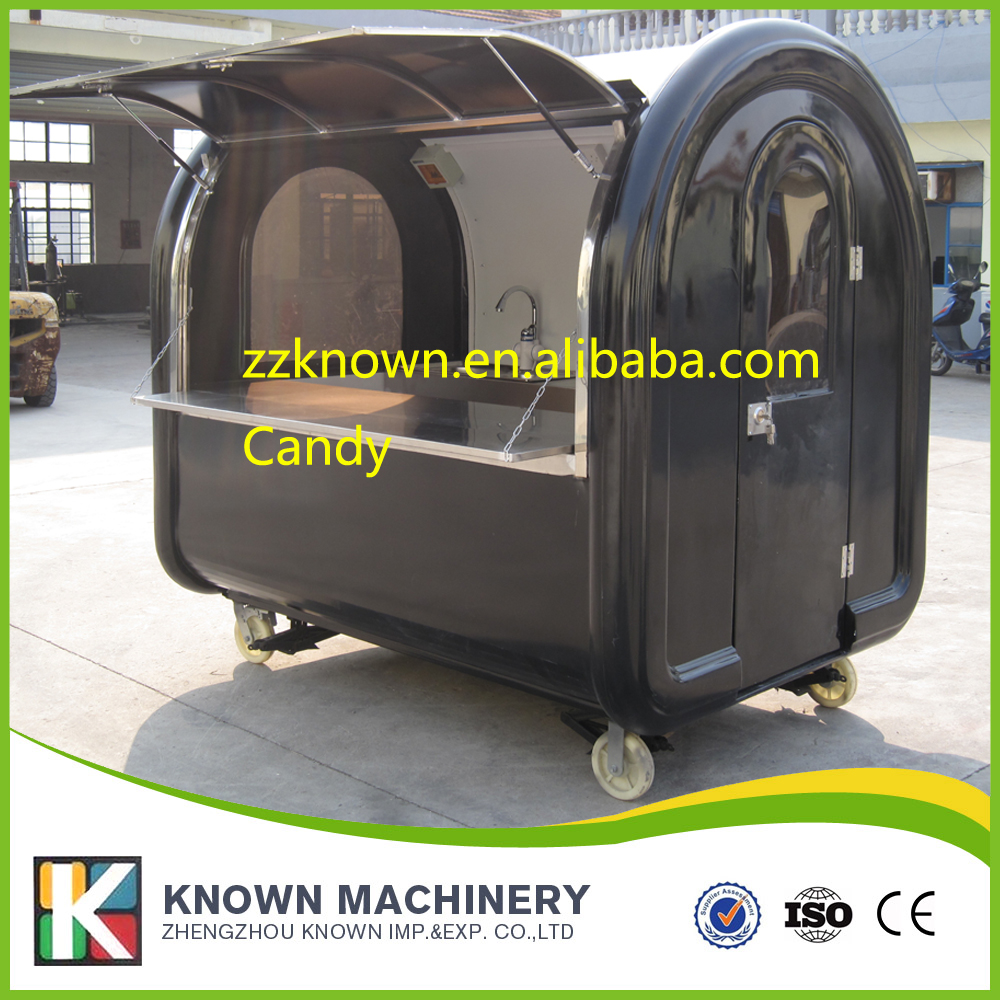 High quality 4 small wheels food trailer mobile food cart fast food truck free shipping by sea fast food leisure fast food equipment stainless steel gas fryer 3l spanish churro maker machine