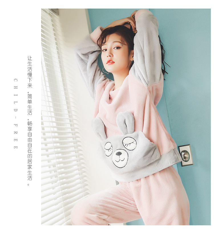 Long Sleeve Warm Flannel Pajamas Winter Women Pajama Sets Print Thicken Sleepwear Pyjamas Plus Size 3XL 4XL 5XL 85kg Nightwear 387