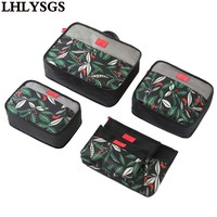 LHLYSGS Brand 6Pcs Set Waterproof Travel Bags Packing Cubes Nylon Carry On Luggage Packing Organizers