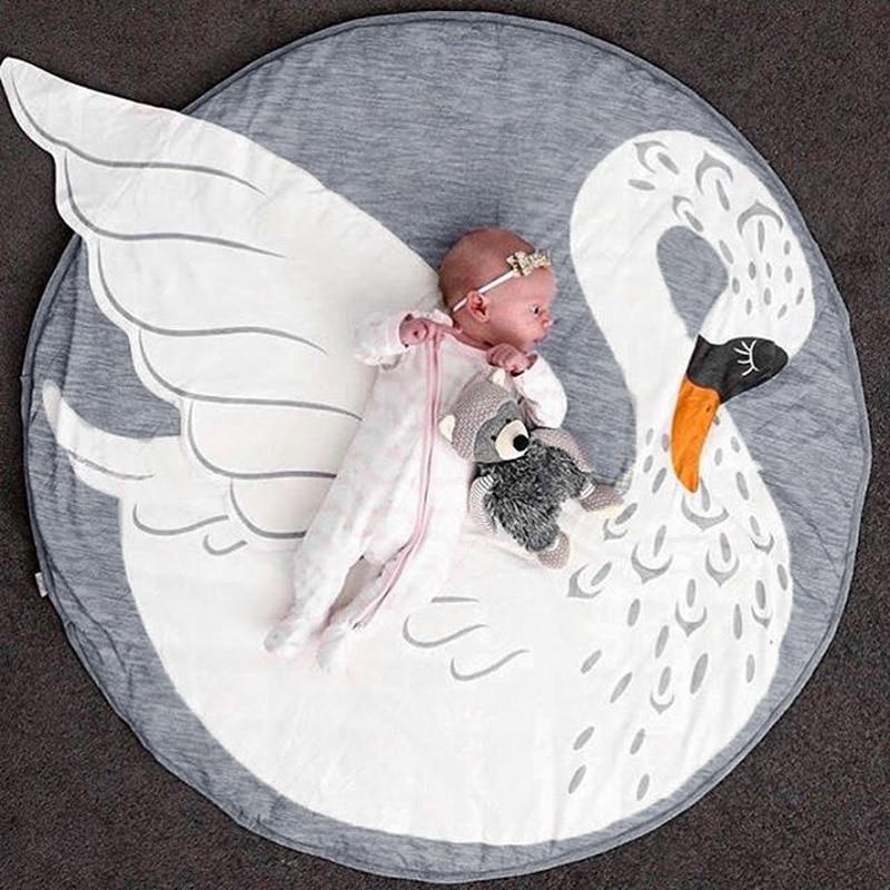 Kawaii Rabbit Swan Newborn Play Mats Baby Sleep Rug Blanket Children Floor Padded Round Carpet Kids Room Climb Floor Carpet D30
