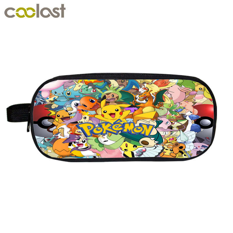 Anime Pokemon Cosmetic Cases Cartoon Pencil Holder Boys Girls School Case Kids Makeup Cases Pikacun Bag Material Escolar Lapices  multifunction cosmetic cases women make up bag punk skull print kids boys pencil pen bag for school boys girls stationary holder