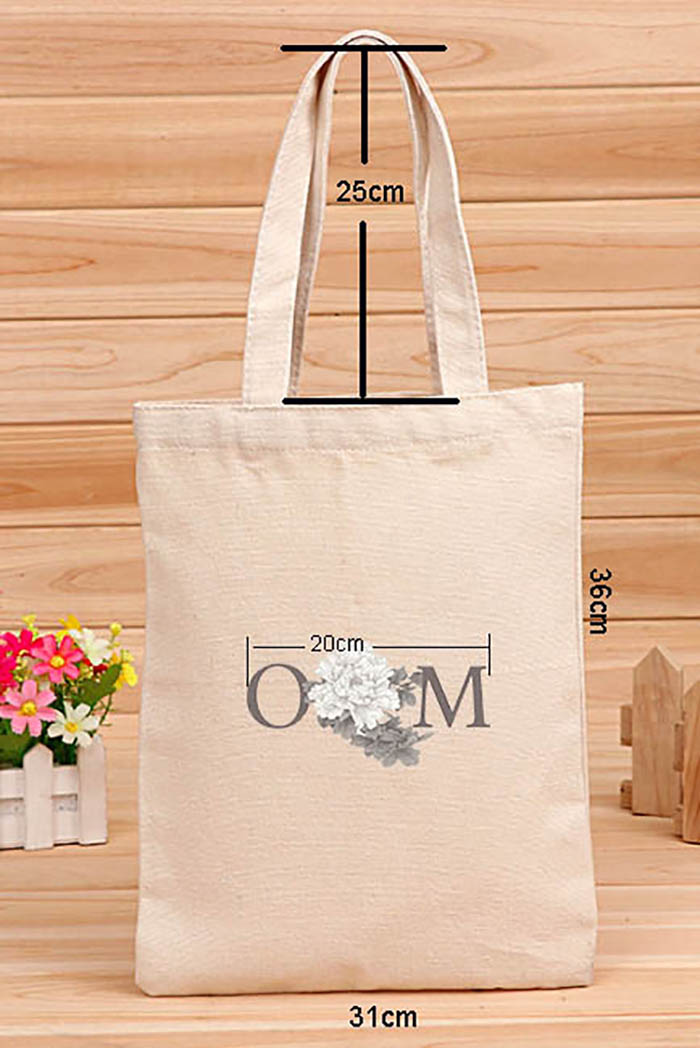 150 Pcs/Lot Customized Logo Tote Bag Cotton Shopping Bag Plain Nature Cotton Canvas Shoulder Bags No Zipper