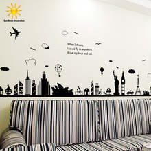 New Modern Removable Wall Stickers Large Black Eiffel Tower Sydney Greek City For Living Room Bedroom Home Decoration