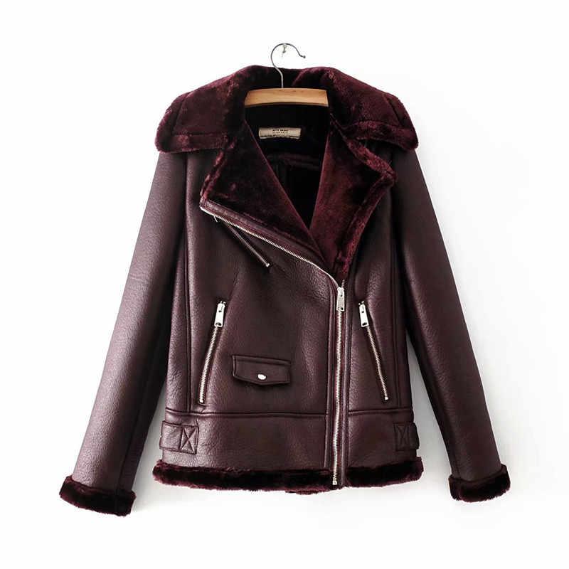 Abrigo de gamuza de mujer invierno flocado grueso Fluff piel Woat mujer caliente Chaqueta corta de piel de doble cara prendas de abrigo h639