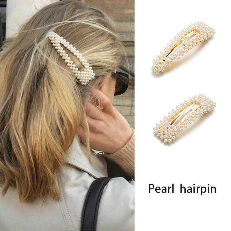 F001 2019 New Fashion Pearl Hair Clip for Women Elegant Korean Design Snap Barrette Stick Hairpin Hair Styling Accessories