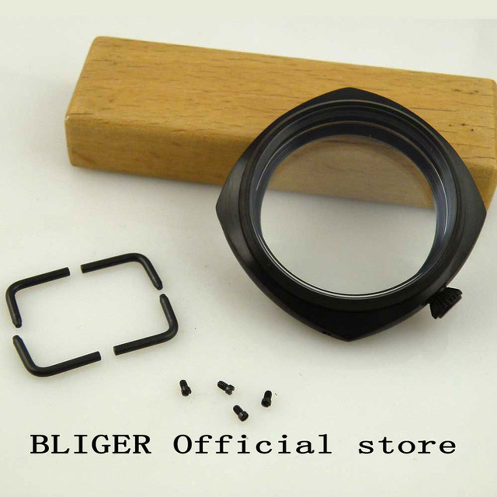 Matte black 45mm Bliger mineral glass stainless steel PVD case fit ETA 6497 6498 ST36 Molnija movement watch case CA010Matte black 45mm Bliger mineral glass stainless steel PVD case fit ETA 6497 6498 ST36 Molnija movement watch case CA010