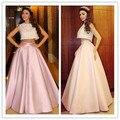 Mf18 Myriam Fares moda Top Crop vestidos baile gece elbisesi rebordear dos piezas de color rosa Dubai vestidos de noche vestidos noche abiye