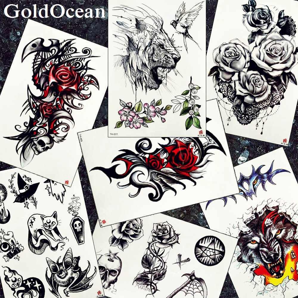 9df42a211 Men Chest Big Tattoo Stickers Black Tribal Totem Lion Tattoos Temporary  Women Arm Fake Rose Wolf