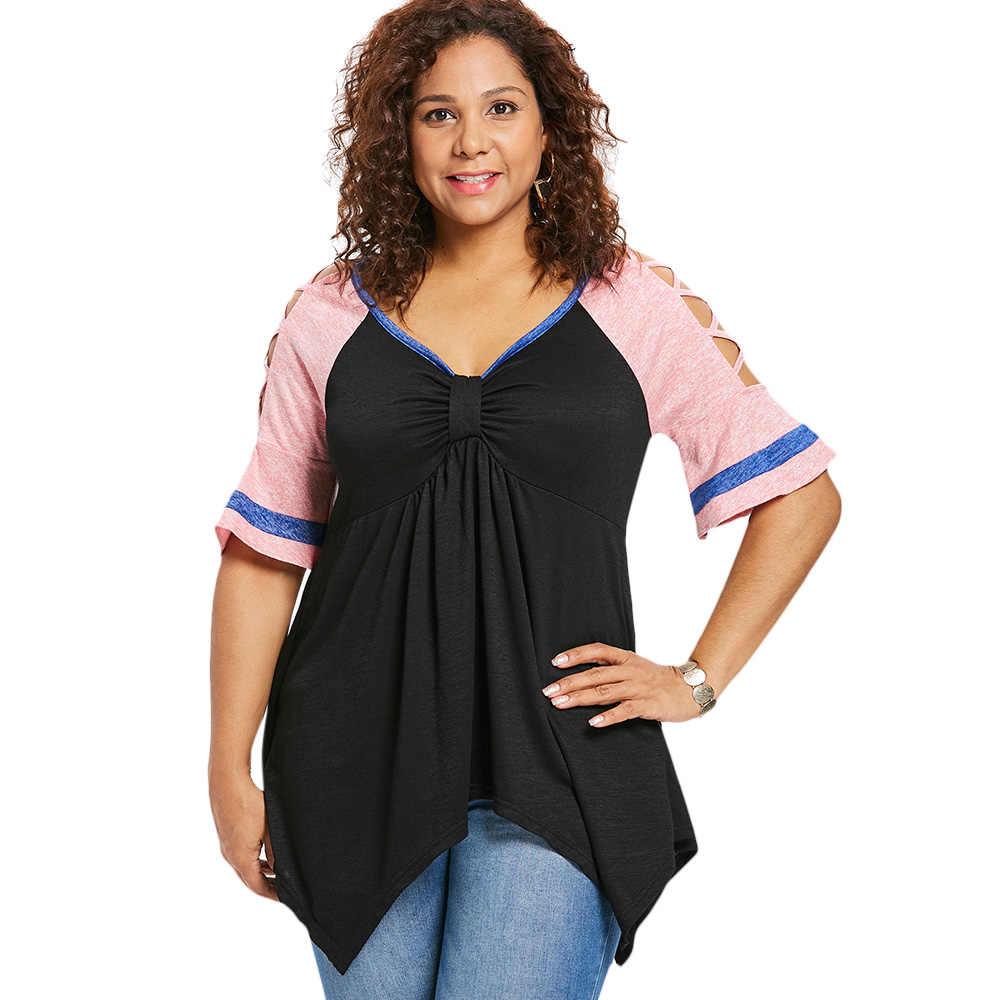 Wipalo плюс размер 5XL v-образный вырез крест-накрест рукав футболки бант бюст носовой платок женские футболки Лето Повседневные женские топы футболки