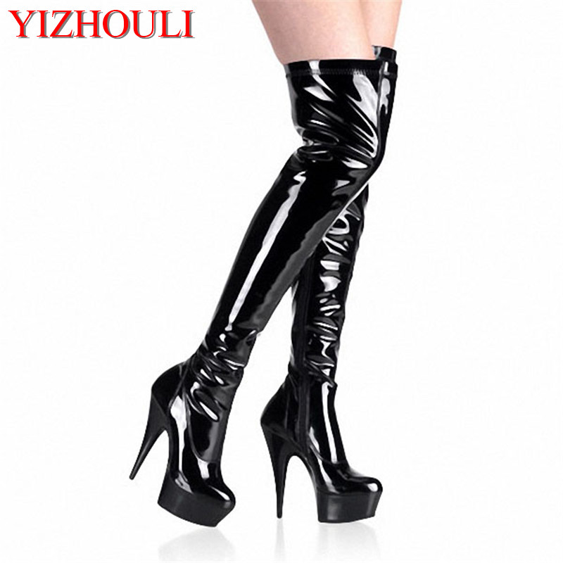 Sexy Thigh High Boots High Heels Pumps Platform Womens Over The Knee Boots 15cm High-Heeled Boots Pipe Dance Shoes