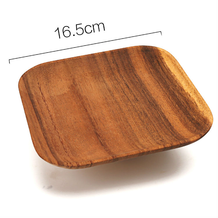 Set of 2 Square Wooden Plates High Quality Acacia Wood Dishes Serving Trays Premium Hardwood Dishes Plates Dinnerware (5)