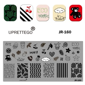 Image 2 - 2019 Stainless Steel Stamping Plate Template Russian Phrase Cat Floral Corner Tropical Fruit Pixel Pattern Nail Tool JR151 160