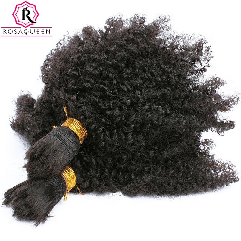Human Braiding Hair Bulk No Attachment Mongolian Afro Kinky Curly Crochet Braids 1 Piece Rosa Queen Non Remy Hair
