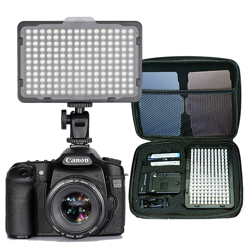176 pcs LED Light for DSLR Camera Camcorder Continuous Light, Battery and USB Charger, Carry Case Photography Photo Video Studio 2pcs power bank cover case tomo m4 and evewher 2 easy to carry smart led powerdisplay and led light fasr delivery no battery