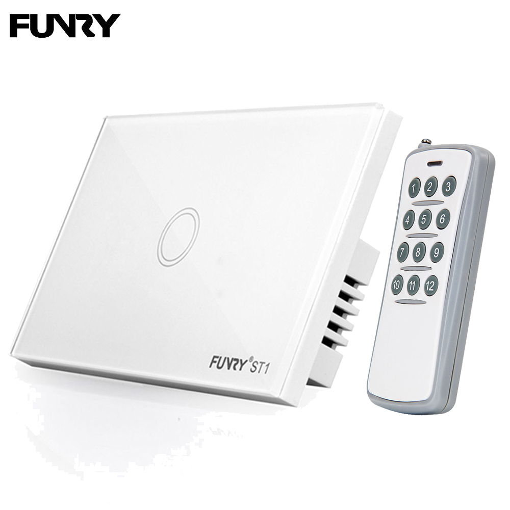 FUNRY ST1 US Standard Remote Control Switch Touch Wall Light Switch Cystal Glass Panel Home LED Bulb Light Smart Switch 433mhz