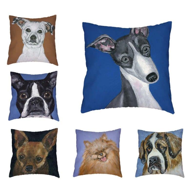 Cushion Cover Saint Bernard Australian Shepherd Greyhound 45*45cm Squarre Pinscher Throw Pillow Case Sofa Home Sofa Decorative
