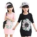 Camiseta Para Niñas de Algodón Niños Ocasional Ropa Larga Longitud de la Ropa de Los Niños Grandes Para Muchachas de la Impresión Floral de La Manga Completa Ropa de Bebé
