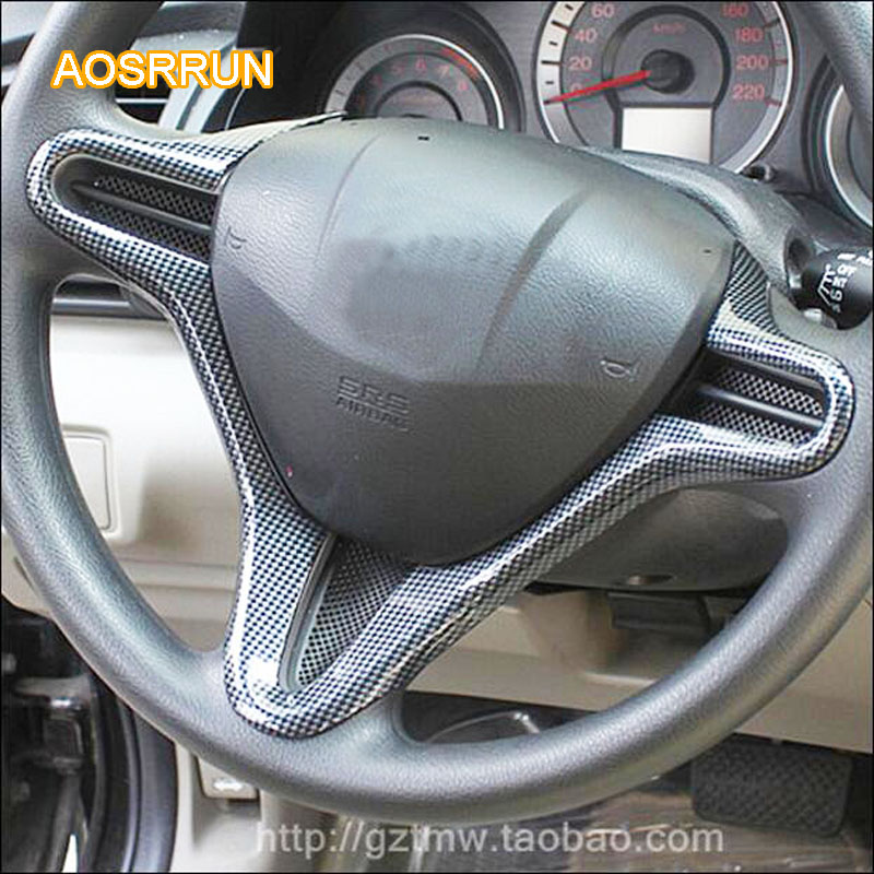 AOSRRUN Carbon fiber style steering wheel Cover interior decorated adapted For Honda Civic 8th 2006-2010 cover Car Accessories yandex w205 amg style carbon fiber rear spoiler for benz w205 c200 c250 c300 c350 4door 2015 2016 2017