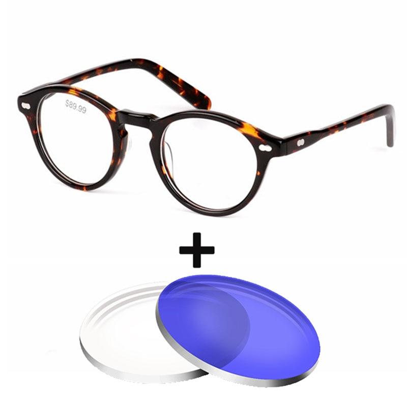 Acetate Vintag Round Glasses Frame Women Men Mujer Prescription Eyewear Oculos de sol 1.61 Index anti blue light Optical Glasses